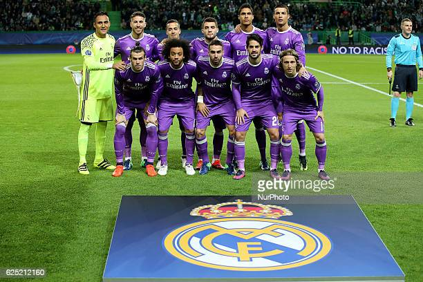 Real Madrids Inicial team in action during the UEFA Champions League match between Sporting Clube de Portugal and Real Madrid at Estadio Jose...