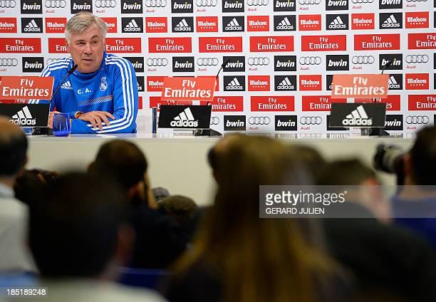 Real Madrid's Italian coach Carlo Ancelotti gives a press conference at Valdebebas training ground in Madrid on October 18 on the eve of the Spanish...