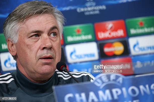 Real Madrid's Italian coach Carlo Ancelotti gives a press conference on the eve of the UEFA Champions League semi final football match Juventus vs...