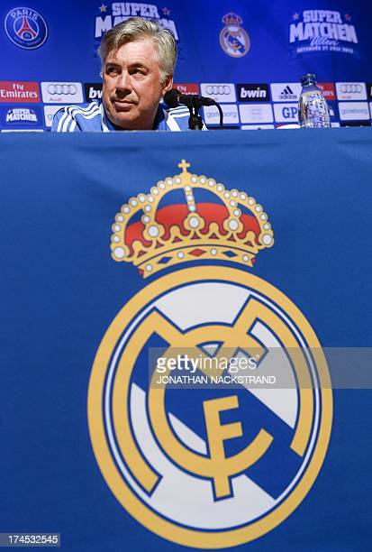 Real Madrid's Italian coach Carlo Ancelotti is pictured during a press conference on the day of the friendly football match between Paris...