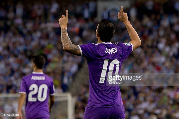 Real Madrid's James cellebrating his score during spanish league match between RCD Espanyol and Real Madrid in in Cornellà on September 18 2016