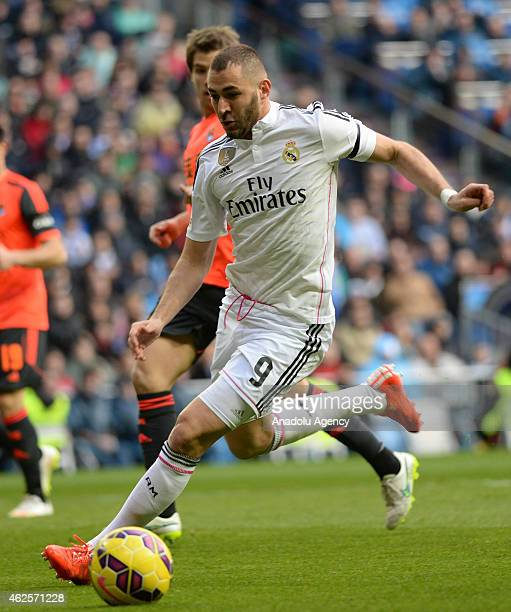 Real Madrid's Karim Benzema in action during the La Liga soccer match between Real Madrid CF and Real Sociedad de Futbol at Estadio Santiago Bernabeu...
