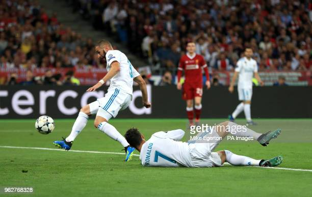 Real Madrid's Karim Benzema sees his goal disallowed during the UEFA Champions League Final at the NSK Olimpiyskiy Stadium, Kiev.