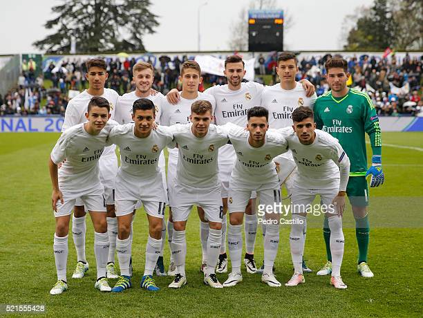 Real Madrid's line up before the UEFA Youth League semi final match between Real Madrid CF and Paris Saint Germain at Colovray on April 14 2016 in...