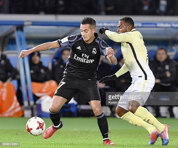 Real Madrid's Lucas Vazquez and William da Silva of Club America vie for the ball during the first half of a Club World Cup semifinal at Nissan...