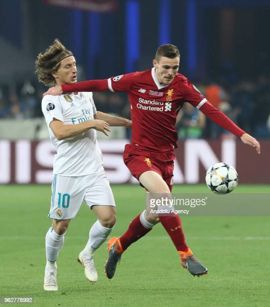 Real Madrid's Luka Modric in action against Liverpool's Andy Robertson during the UEFA Champions League final football match between Real Madrid and...
