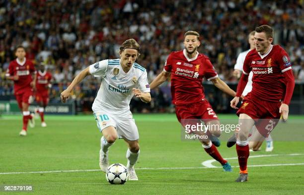 Real Madrid's Luka Modric left controls the ball during the final match of the Champions League between Real Madrid and Liverpool at the Olympic...