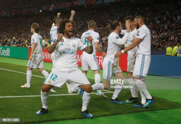Real Madrid's Marcelo celebrates after a goal during the UEFA Champions League final football match between Real Madrid and Liverpool FC at the...