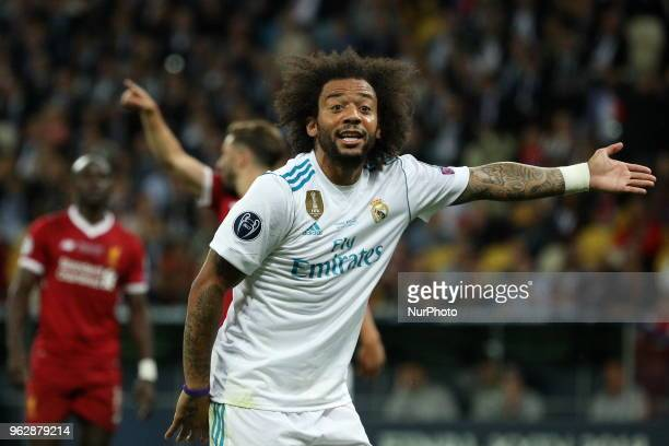Real Madrid's Marcelo reacts during the final match of the Champions League between Real Madrid and Liverpool at the Olympic Stadium in Kiev Ukraine...