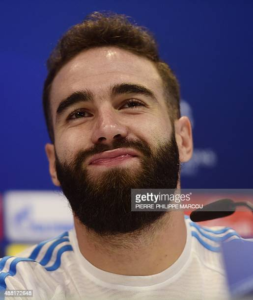 Real Madrid's midfielder Dani Carvajal smiles during a press conference at Real Madrid's Sport City in Madrid on September 14 2015 on the eve of the...