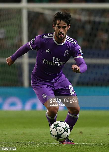 Real Madrid's midfielder Isco from Spain in action during the UEFA Champions League match between Sporting Clube de Portugal and Real Madrid CF at...