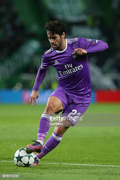Real Madrids midfielder Isco from Spain in action during the UEFA Champions League match between Sporting Clube de Portugal and Real Madrid at...