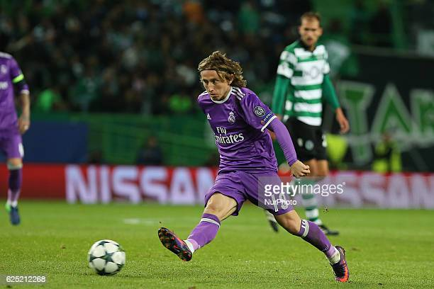 Real Madrids midfielder Luka Modric from Croacia in action during the UEFA Champions League match between Sporting Clube de Portugal and Real Madrid...