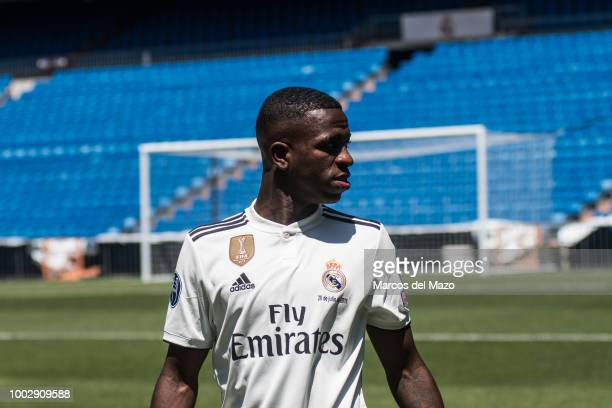 Real Madrid's new Brazilian forward Vinicius Junior during his official presentation in Santiago Bernabeu Stadium