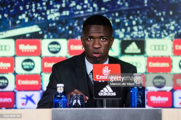 Real Madrid's new Brazilian forward Vinicius Junior speaks to the press during his official presentation in Santiago Bernabeu Stadium