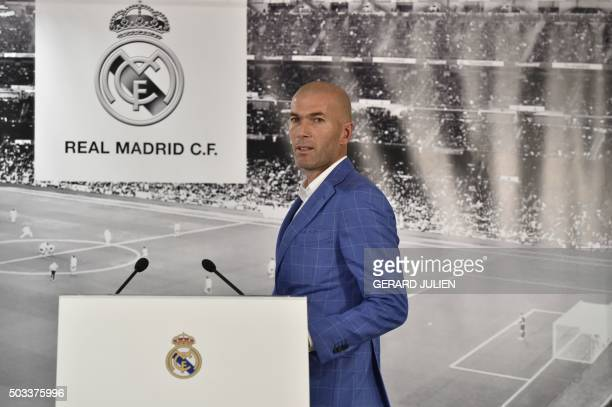 Real Madrid's new French coach Zinedine Zidane arrives to delivers a speech after his appointment by Real Madrid's president at the Santiago Bernabeu...