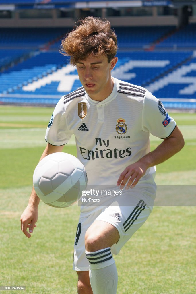 Real Madrid's new player Alvaro Odriozola during his official presentation at the Santiago Bernabeu stadium in Madrid on July 18, 2018.