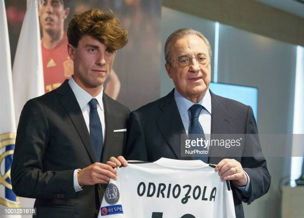 Real Madrid's new player Alvaro Odriozola during his official presentation at the Santiago Bernabeu stadium in Madrid on July 18 2018