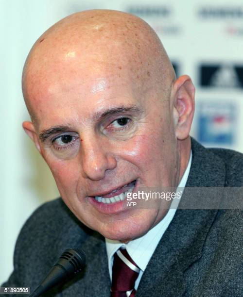 Real Madrid's new sports director former AC Milan and Italian coach Arrigo Sacchi talks during a press conference for his presentation at Santiago...