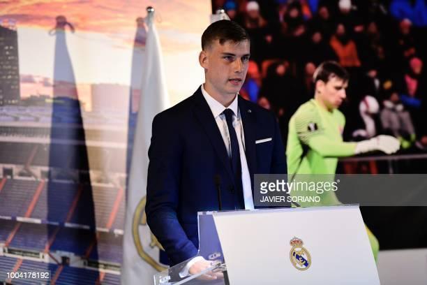 Real Madrid's new Ukrainian goalkeeper Andriy Lunin speaks during his official presentation at the Santiago Bernabeu Stadium in Madrid on July 23 2018