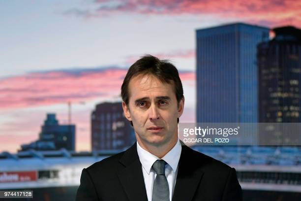 Real Madrid´s newly appointed coach Julen Lopetegui gives a speech during his official presentation at the Santiago Bernabeu stadium in Madrid on...