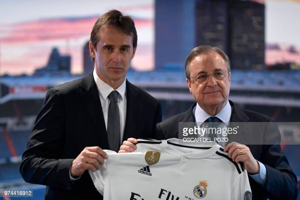 Real Madrid´s newly appointed coach Julen Lopetegui poses with Real Madrid's president Florentino Perez during his official presentation at the...