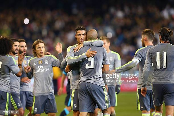 Real Madrid's Pepe celebrates with teammate Cristiano Ronaldo after scoring against Manchester City during the International Champions Cup match at...
