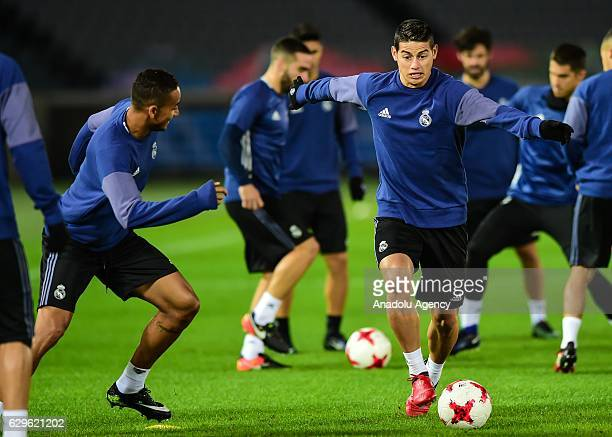 Real Madrid's player James Rodriguez attends a training session before 2016 FIFA Club World Cup semifinal match between Real Madrid and Club America...