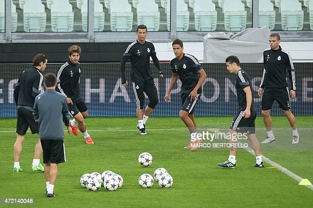 Real Madrid's players attend a training session on the eve of the UEFA Champions League semi final football match Juventus vs Real Madrid on May 4...