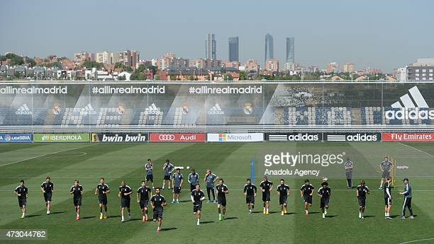 Real Madrid's players attend the pre match training session at Valdebebas training ground in Madrid, Spain on May 12 ahead of the UEFA Champions...
