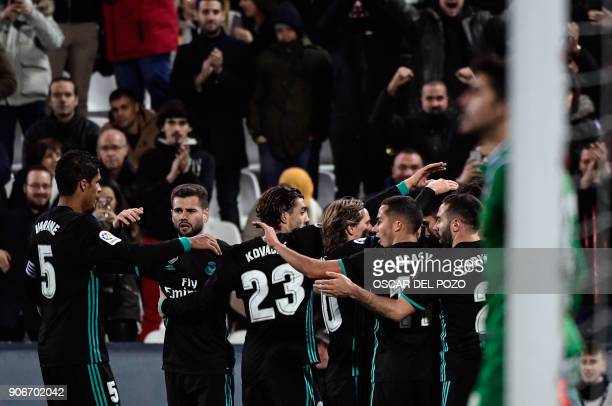 Real Madrid's players celebrate a goal during the Spanish 'Copa del Rey' football match between Leganes and Real Madrid at the Estadio Municipal...