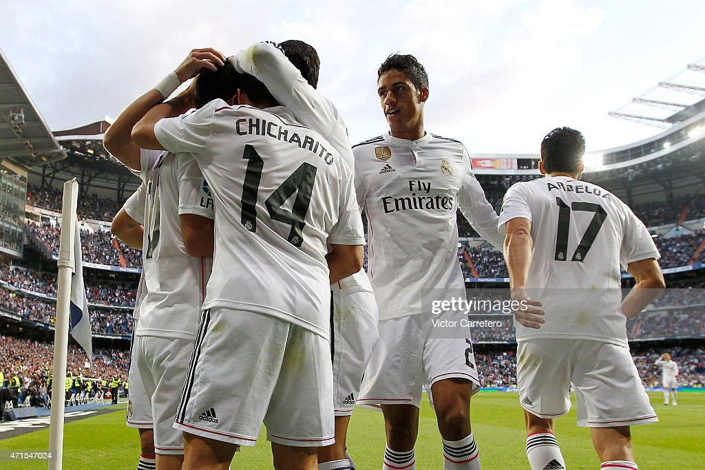 Real Madrid's players celebrate the opening goal during the La Liga match between Real Madrid CF and UD Almeria at Estadio Santiago Bernabeu on April 29, 2015 in Madrid, Spain.