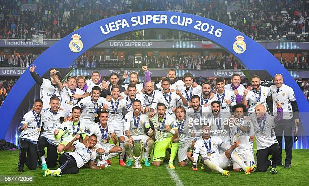 Real Madrid's players celebrate winning the UEFA Super Cup at Lerkendal Stadion in Trondheim Norway on August 9 2016