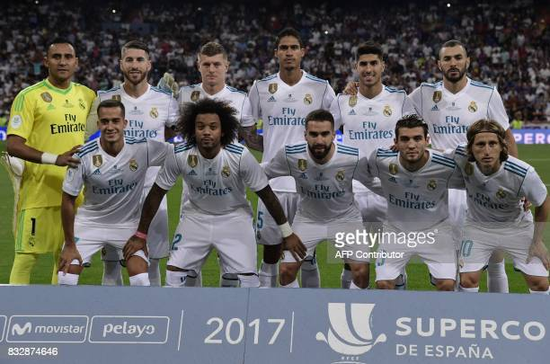 Real Madrid's players pose before the second leg of the Spanish Supercup football match Real Madrid vs FC Barcelona at the Santiago Bernabeu stadium...