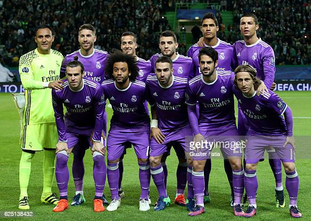 Real Madrid's players pose for a team photo before the start of the UEFA Champions League match between Sporting Clube de Portugal and Real Madrid CF...