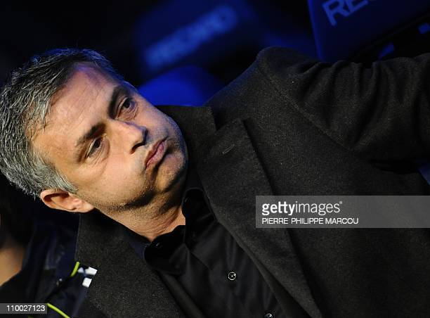 Real Madrid's Portuguese coach Jose Mourinho gestures before their Spanish league football match Real Madrid vs Hercules on March 12 2011 at the...