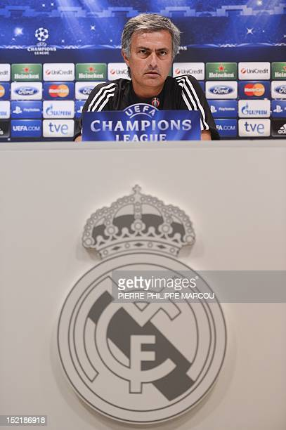 Real Madrid's Portuguese coach Jose Mourinho gives a press conference in Madrid on September 17 2012 on the eve of the Champions League football...