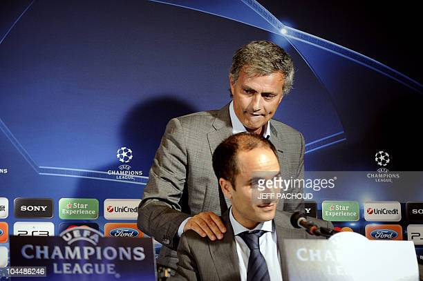 Real Madrid's Portuguese coach Jose Mourinho leaves angry a press conference after a journalist's question on September 27 at the Abbe Deschamps...
