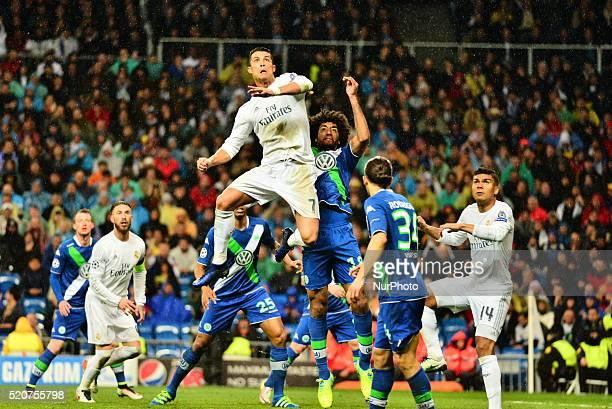 Real Madrid's Portuguese Cristiano Ronaldo Pepe in action during Champions League football match Real Madrid vs Wolfsburg at Santiago Bernabeu...
