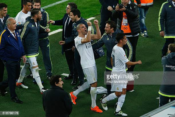 Real Madrid's Portuguese defender Pepe celebrates after winning during the Spanish league 'Clasico' football match FC Barcelona vs Real Madrid CF at...