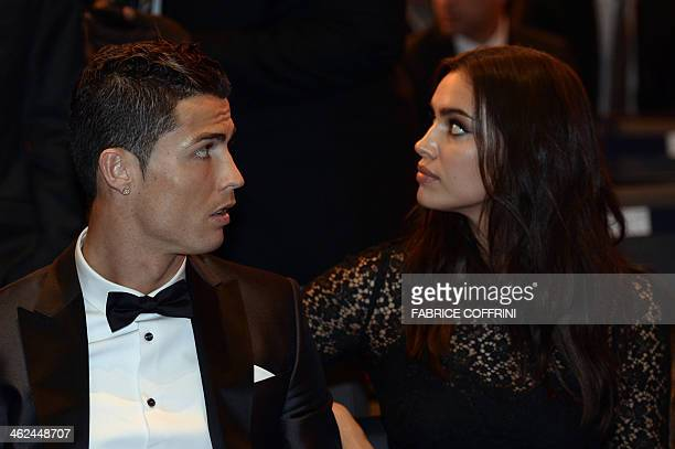 Real Madrid's Portuguese forward Cristiano Ronaldo and his girlfriend Irina Shayk attend the 2013 FIFA Ballon d'Or award ceremony at the Kongresshaus...
