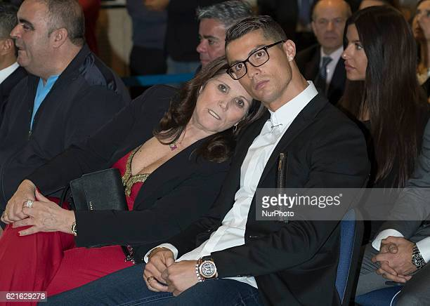Real Madrid's Portuguese forward Cristiano Ronaldo, and mother Maria Dolores dos Santos Aveiro during the official presentation of Ronaldo's contract...