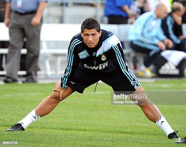 Real Madrid's Portuguese forward Cristiano Ronaldo arrives for a practice session at the BMO Field on August 6, 2009 in Toronto, Canada.
