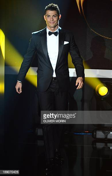 Real Madrid's Portuguese forward Cristiano Ronaldo arrives on stage during the FIFA Ballon d'Or awards ceremony at the Kongresshaus in Zurich on...
