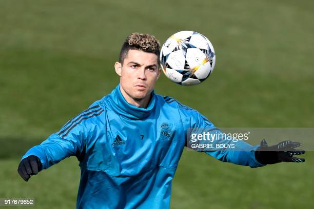 TOPSHOT Real Madrid's Portuguese forward Cristiano Ronaldo attends a training session at Valdebebas Sport City in Madrid on February 13 2018 on the...