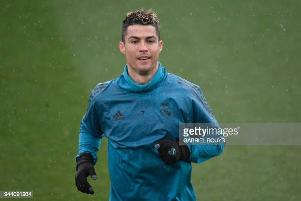 Real Madrid's Portuguese forward Cristiano Ronaldo attends a training session at Valdebebas Sport City in Madrid on April 10 2018 on the eve of the...