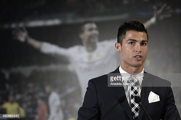 Real Madrid's Portuguese forward Cristiano Ronaldo attends a tribute ceremony in his honour for becoming the team's alltime top goalscorer with 324...