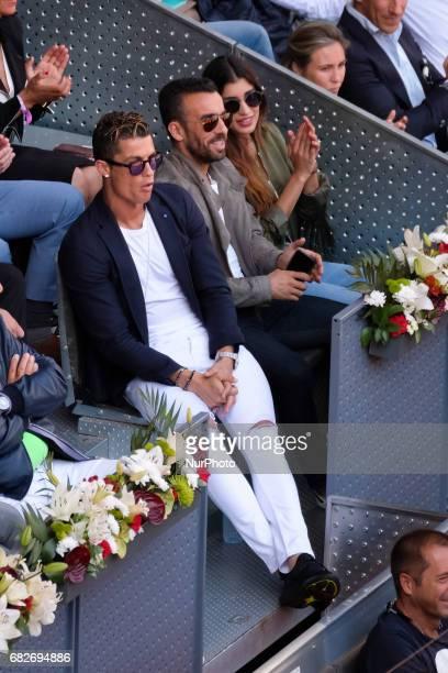 Real Madrid's Portuguese forward Cristiano Ronaldo attends the semi final match beetwen Serbian Novak Djokovic and Spanish Rafa Nadal at the Mutua...