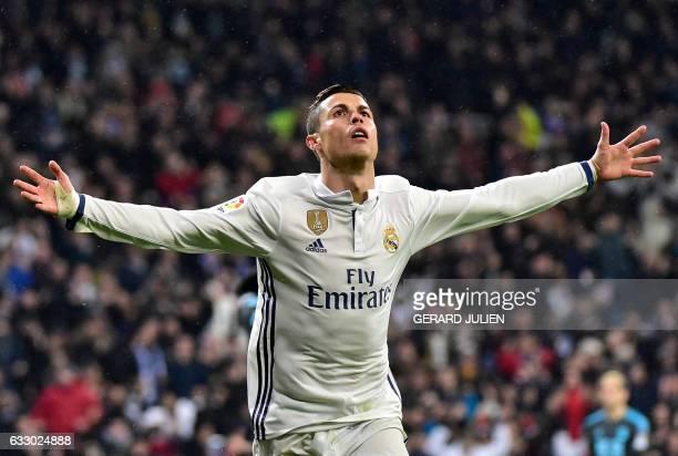 Real Madrid's Portuguese forward Cristiano Ronaldo celebrates a goal during the Spanish league football match Real Madrid CF vs Real Sociedad at the...