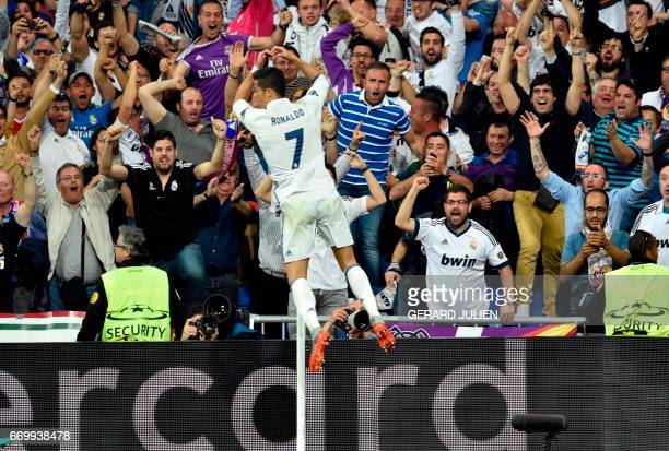 Real Madrid's Portuguese forward Cristiano Ronaldo celebrates a goal during the UEFA Champions League quarterfinal second leg football match Real...
